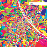 Colorful map of Vienna, Austria - 213052808