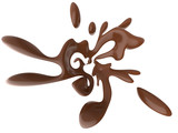 Abstract splash of liquid chocolate isolated on white background. 3d rendering.