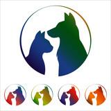 Cat and dog logo on white background - 213055649
