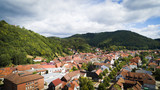 Aerial drone bird's eye view photo of famous and picturesque european village of central germany with red roofs and cozy streets - 213059422