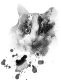 a black and white cat face tablet drawing - 213063047