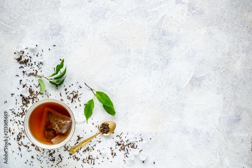 Widok z góry o filiżankę herbaty