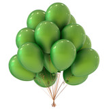 party helium balloons bunch green. celebration event, holiday, birthday decoration classic. 3d illustration - 213067089