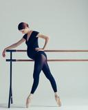 Young beautiful pregnant ballerina is posing in studio - 213071661