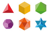Set of geometrical elements and shapes: pyramid, cube, octahedron, dodecahedron, icosahedron and Davids Star. Sacred Geometry vector designs - 213071834
