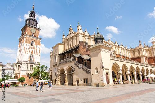 Fotobehang Krakau Former City Hall and Cloth Hall (Sukiennice) in Krakow (Poland)