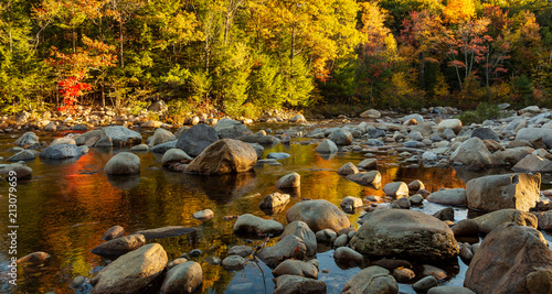Plexiglas Herfst Early morning light on rocky river bed