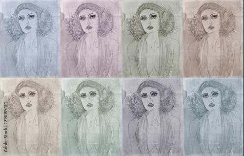 Fotobehang Pop Art Pop art series of cards with portraits of women