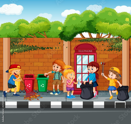 Happy Children Collecting Garbage - 213088888