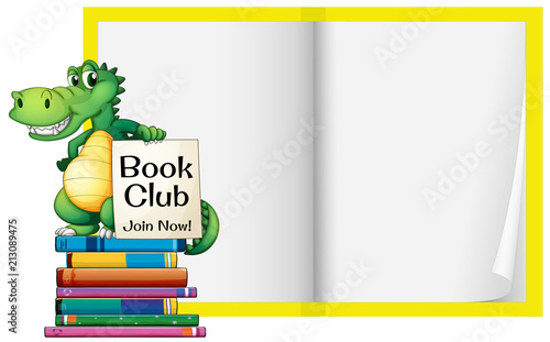 a blank book with crocodile template buy photos ap images