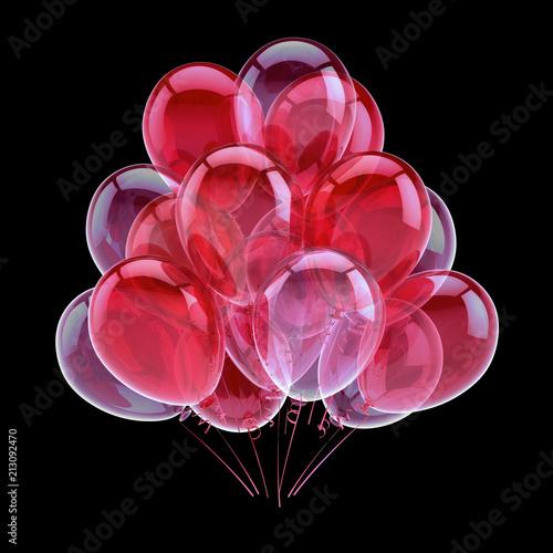 różowe balony imprezowe romantyczne czerwone. kolorowe balony z helem. błyszczące dekoracje urodzinowe. wakacje, rocznica, symbol celebracji małżeństwa. 3d ilustracja. odizolowane na czarno