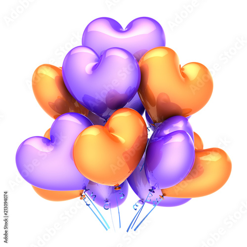 kolorowe balony party kiść w kształcie serca pomarańczowy fioletowy. miłość, urodziny, romantyczna dekoracja małżeństwa. Święto Walentego, celebracja kartkę z życzeniami. 3d ilustracja