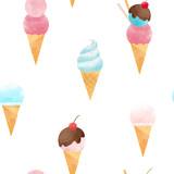 Watercolor ice cream vector pattern - 213094651