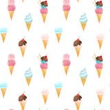 Watercolor ice cream vector pattern - 213094685