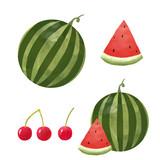 Watercolor watermelon vector set - 213094800