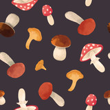 Watercolor mushroom vector pattern - 213094816