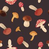 Watercolor mushroom vector pattern - 213094834