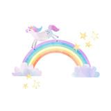 Watercolor unicorn vector illustration - 213094897