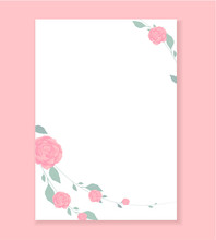 Love Letter Blank Template  Rose Flower Pattern  Useful For Wedding Invitation Save The Date Card Letterhead Romantic Letter For Her Love Note Beautiful  Design A4 Format Sticker