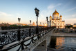 Temple of Christ the Savior and pedestrian bridge. Moscow, Russia