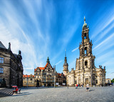 DRESDEN, GERMANY - APR 22: Tourists at the Dresden Square, April 22, 2013 in Dresden, Germany. This is the capital city of the Free State of Saxony in Germany - 213096077