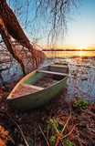 Spring landscape with wooden boat - 213096228