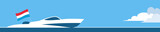 Motor boat with luxembourg flag - 213098034