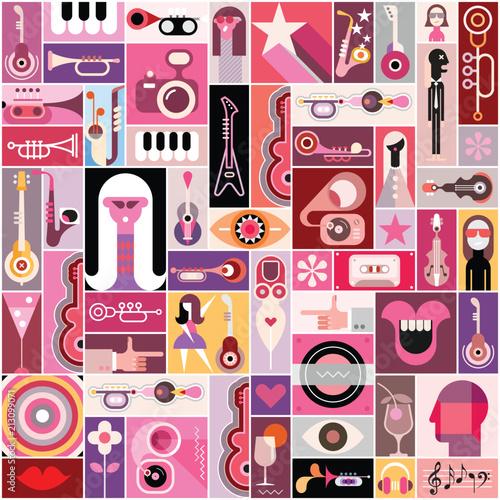 In de dag Abstractie Art Pop Art Musical Collage