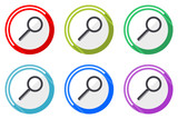 Search vector icons, set of colorful flat design internet symbols on white background - 213108829