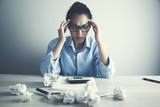 young depression businesswoman hand on head - 213111803