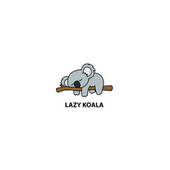 Lazy koala sleeping on a branch cartoon, vector illustration © Totostarkk9456