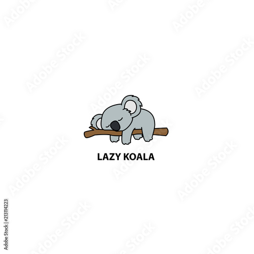 Lazy koala sleeping on a branch cartoon, vector illustration - 213114223