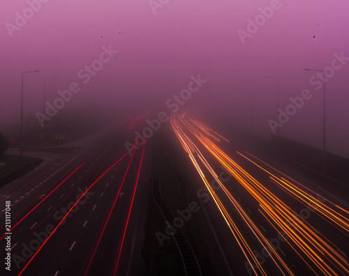 Canvas Nacht snelweg Light Trails Motorway