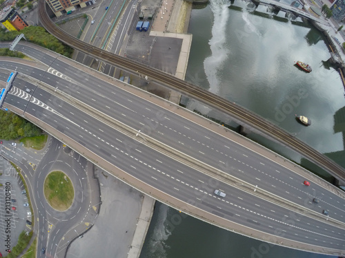 Aluminium Nacht snelweg aerial view on street. cars on road from above. top view on highway