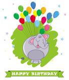Card happy birthday. Cartoon elephant. Colorful balloons background with cute elephant
