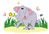 Funny cartoon elephant with butterfly on a white background