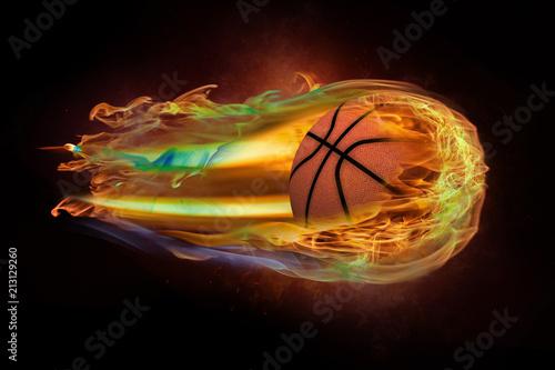 Fotobehang Basketbal Flying basketball on fire