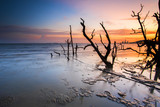 Sunset Scenery at Mangrove Forest Lumut,Malaysia.Soft Focus,Image Blur due to Long Exposure Shot.Visible Noise due to High ISO.