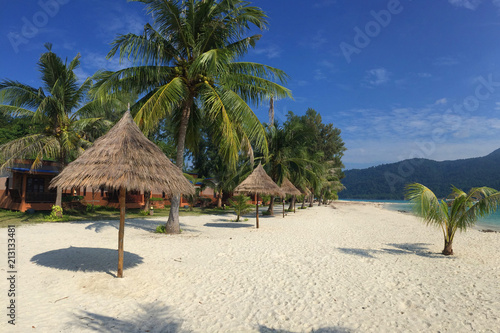 Fotobehang Tropical strand Clear Blue Sky with Tropical Trees at Koh Lipe Island,Satun,Thailand.
