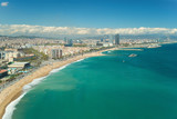 Aerial view of Barcelona, Barceloneta beach and Mediterranean sea in summer day at Barcelona, Spain. - 213133891