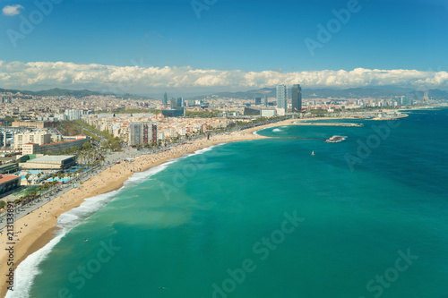 Aerial view of Barcelona, Barceloneta beach and Mediterranean sea in summer day at Barcelona, Spain. © ake1150