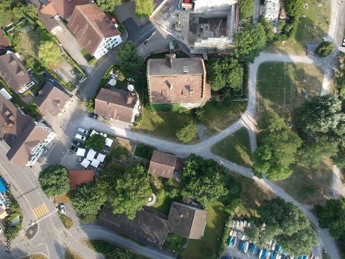 Obraz na płótnie Birdseye view of Greifensee Schloss