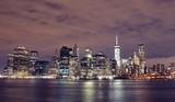 Manhattan skyline by night, New York City