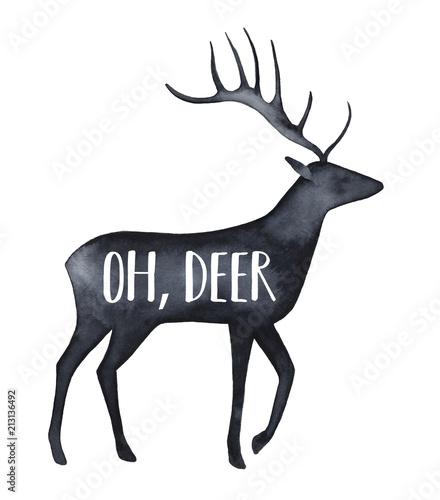 czarna-akwarelowa-sylwetka-pieknego-jelenia-z-napisem-quot-och-jelenie-quot-recznie-rysowane-kolor-wody-malowanie-na-bialym-tle-projekt-do-nadruku-na-koszulki-karty-baner-dekoracje-scrapbooking