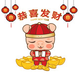 Happy Chinese new year 2019 , year of pig , Cute Pig gold coins Cartoon Style on white background