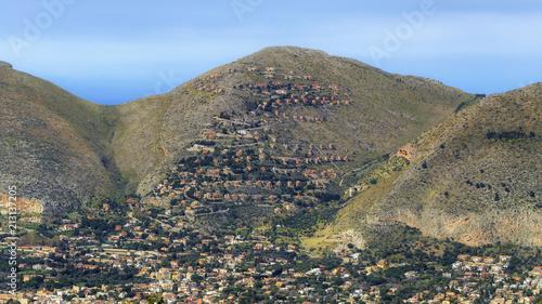 Poster sizilianische Hügellandschaft im Frühjahr