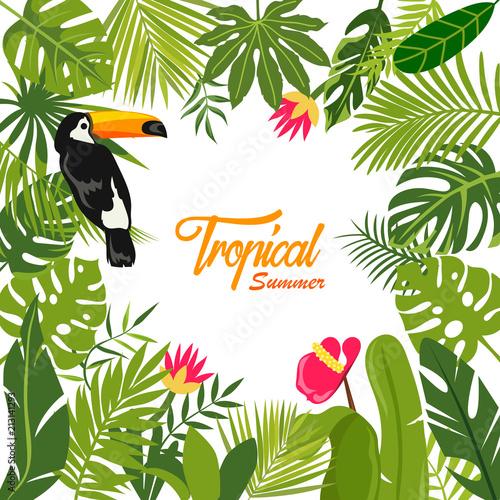 letnie tło tropikalne i Tukan. tropikalne rośliny i kwiaty. ilustracji wektorowych