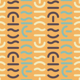 Geometric vector seamless pattern. Different shapes of thick lines. Hipster fashion Memphis style. - 213145836