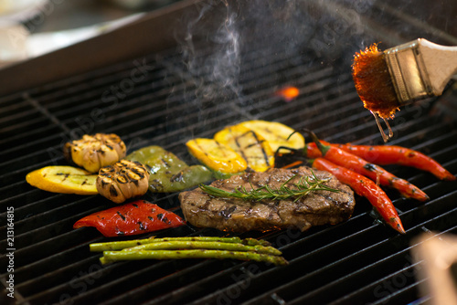 Grilling meat and vegetables - 213164815