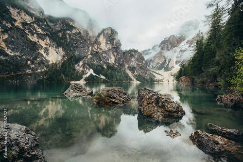 Plexiglas Khaki Beautiful views of the lake in the mountains